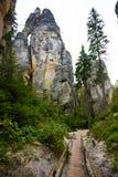 Montaña única Adrspasske de las rocas skaly en el parque nacional Adrspach, República Checa Fotografía de archivo