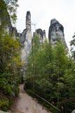Montaña única Adrspasske de las rocas skaly en el parque nacional Adrspach, República Checa Fotos de archivo libres de regalías