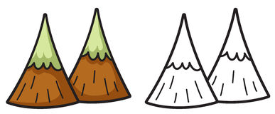 Montaña colorida y blanco y negro para el libro de colorear Imagenes de archivo