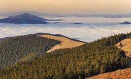 Montaña con el bosque y las nubes foto de archivo libre de regalías