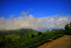 Montaña con paisaje de las nubes foto de archivo