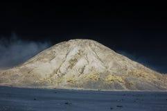 Montaña de Bromo con el árbol de la rama y el foregro de las plantas foto de archivo libre de regalías