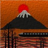 Montaña de Fuji, puesta del sol y tren, ejemplo de papel del estilo Foto de archivo libre de regalías
