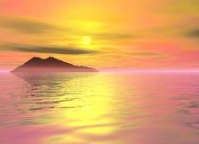 Montaña de la pista del paisaje de la isla del océano en distancia Imagen de archivo libre de regalías