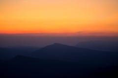 Montaña de la puesta del sol Fotos de archivo