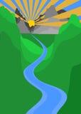 Montaña de la puesta del sol e ilustración del vector del río Imágenes de archivo libres de regalías
