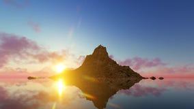 Montaña de la salida del sol y agua clara almacen de video