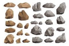 Montaña de piedra del rockstone del vector de la roca o acantilado rocoso con los materiales pedregosos de la geología en stonine Imagenes de archivo