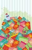 Montaña de regalos con Santa Imágenes de archivo libres de regalías