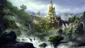 Montaña del castillo con estilo fantástico, realista y futurista ilustración del vector