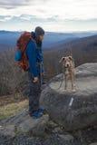 Montaña del hombre y del perro que camina con la mochila Imagenes de archivo