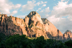 Montaña del parque nacional de Zion en la puesta del sol Foto de archivo libre de regalías