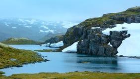 Montaña del verano con el lago y la nieve (Noruega) fotos de archivo