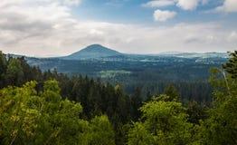 Montaña en el medio del bosque Imágenes de archivo libres de regalías
