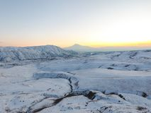 Montaña en la puesta del sol del invierno, Armenia de Ararat foto de archivo libre de regalías