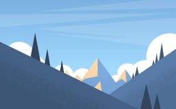 Montaña Forest Landscape Background, bosque del invierno de los árboles de la nieve del pino Imagen de archivo libre de regalías
