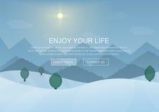 Montaña Forest Landscape Background del invierno de la historieta del día con los árboles de la nieve Disposición de los elemento Fotografía de archivo