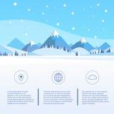Montaña Forest Landscape Background, pino del invierno Imágenes de archivo libres de regalías