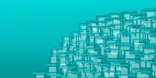 Montaña futurista y geométrica sobre backgound azulado Fotos de archivo