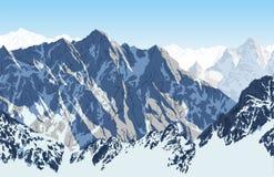 Montaña Himalayan Lhotse - opinión del sur del vector de la cara del viaje del campo bajo de Everest stock de ilustración