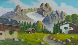 Montaña nevada con las casas en el primero plano ilustración del vector