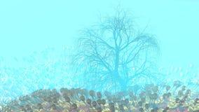 Montaña, niebla, campo abstracto del prado de la niebla por completo de la vegetación extraña en la forma de copas de vino y ence imagenes de archivo