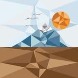 montaña, pájaros y sol, polígono del vector Imágenes de archivo libres de regalías