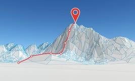 Montaña poligonal abstracta con la ruta al top
