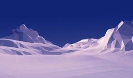 montaña polivinílica baja de la nieve del paisaje del ejemplo 3d fotos de archivo