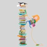 Montaña que sube de la muchacha de libros 3d Imagenes de archivo