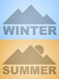 Montaña rayada del invierno y del verano Imagen de archivo