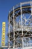 Montaña rusa del ciclón de la señal histórica en la sección de Coney Island de Brooklyn Fotografía de archivo libre de regalías