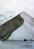 Montaña sola contra el cielo Imágenes de archivo libres de regalías