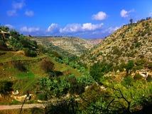 Montaña verde con el cielo azul en Jordania Foto de archivo