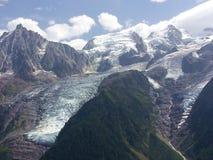Montaña y glaciar de Mont Blanc cerca de Chamonix, Francia fotos de archivo libres de regalías