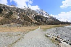 Montaña y glaciar de Roseg cerca del santo Mortiz fotos de archivo libres de regalías