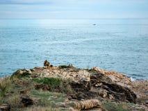 Montaña y mar azul fotografía de archivo libre de regalías