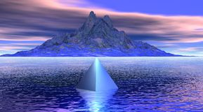 Montaña y pirámide libre illustration