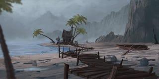 Montaña y río chinos Contexto de la ficción stock de ilustración