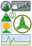 Montaña y vector ambiental del icono del asunto Fotos de archivo libres de regalías