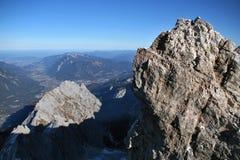 Montaña Zugspitze, Alemania de la nieve. Foto de archivo