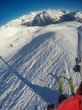 Montañas austríacas hermosas en Soelden, el Tyrol, pico en 3 000 metros de altura imagen de archivo libre de regalías