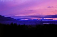 Montañas blancas, puesta del sol de New Hampshire Fotografía de archivo libre de regalías