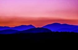Montañas blancas, puesta del sol de New Hampshire Imágenes de archivo libres de regalías