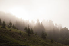 Montañas brumosas frías Fotografía de archivo