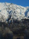 Montañas capsuladas nieve a lo largo de Haines Highway Imagenes de archivo