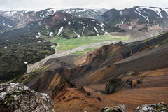 Montañas coloridas de Landmanallaugar, en la naturaleza Rese de Fajllabak Imagen de archivo