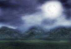 Montañas con claro de luna ilustración del vector