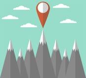 Montañas con diseño plano del marcador del mapa Fotografía de archivo libre de regalías
