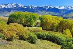 Montañas con el álamo temblón amarillo, verde y rojo colorido durante la estación de follaje Foto de archivo